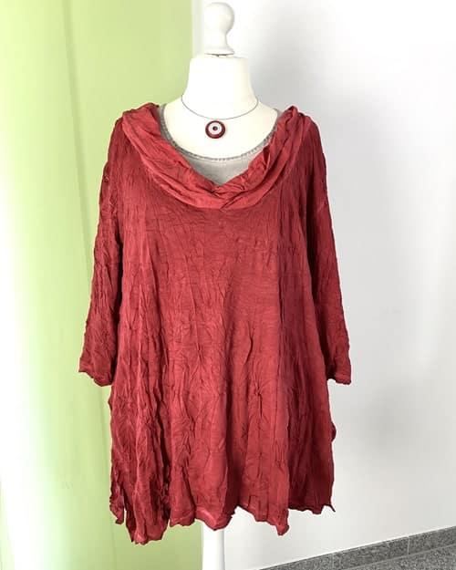 Knittershirt rot Wasserfallkragen Lagen-Look Barbara Speer