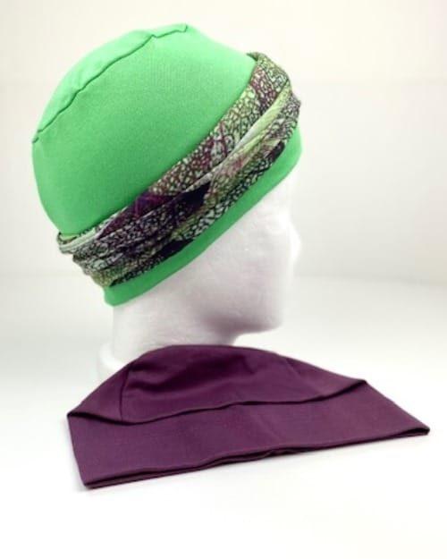 TRIO Mystik-Leaves: Schlauchtuch mit TRIGEMA-Soft-Caps (grün+purple)